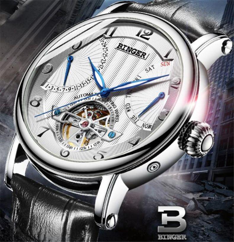 Binger Tonneau Tourbillon Automatic Mechanical Watch for Men Simple Leather Band Mens Watches Wristwatch Business Mans Clock