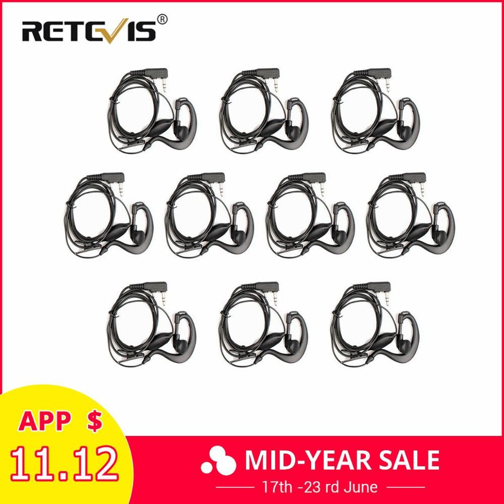 10pcs 2Pin PTT Earpiece Walkie Talkie Headset For KENWOOD BAOFENG UV-5R BF-888S RETEVIS H777 RT7 For QUANSHENG for PUXING TYT