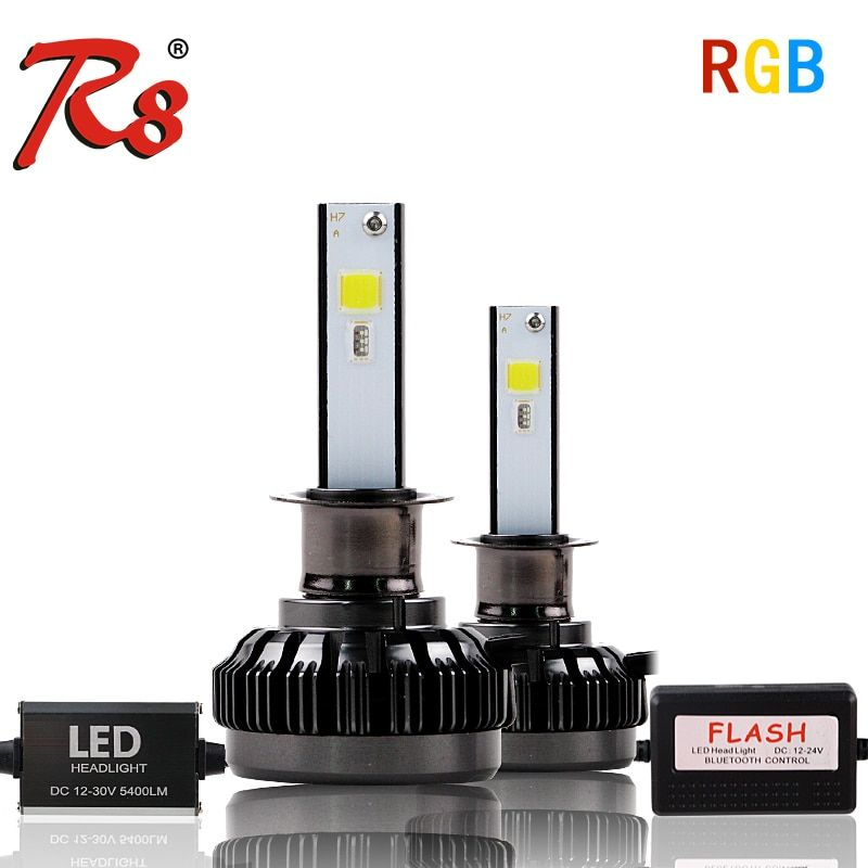 APP Bluetooth RGB Color Remote Control Car Head Lamp LED Headlight Bulbs H1 H7 H11 H4 40W 6000LM COB Chips All Colors
