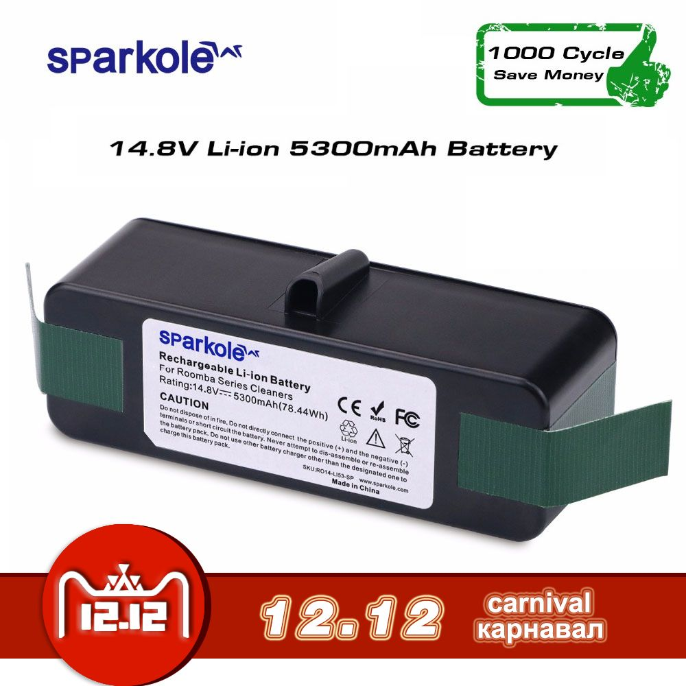 SPARKOLE New Version 5.3Ah 14.8V Li-ion Battery for iRobot Roomba 500 600 700 800 Series 510 532 550 560 620 630 650 880 770 780