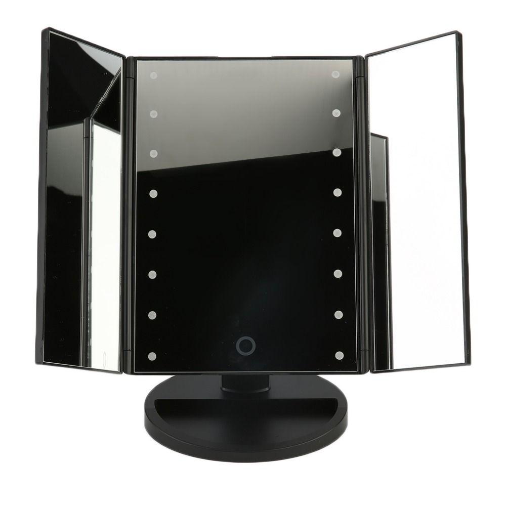 2017 Portable Three Folding Table LED Lamp Luminous Makeup Mirror Cosmetic Mirror Adjustable Tabletop Countertop Light Mirror