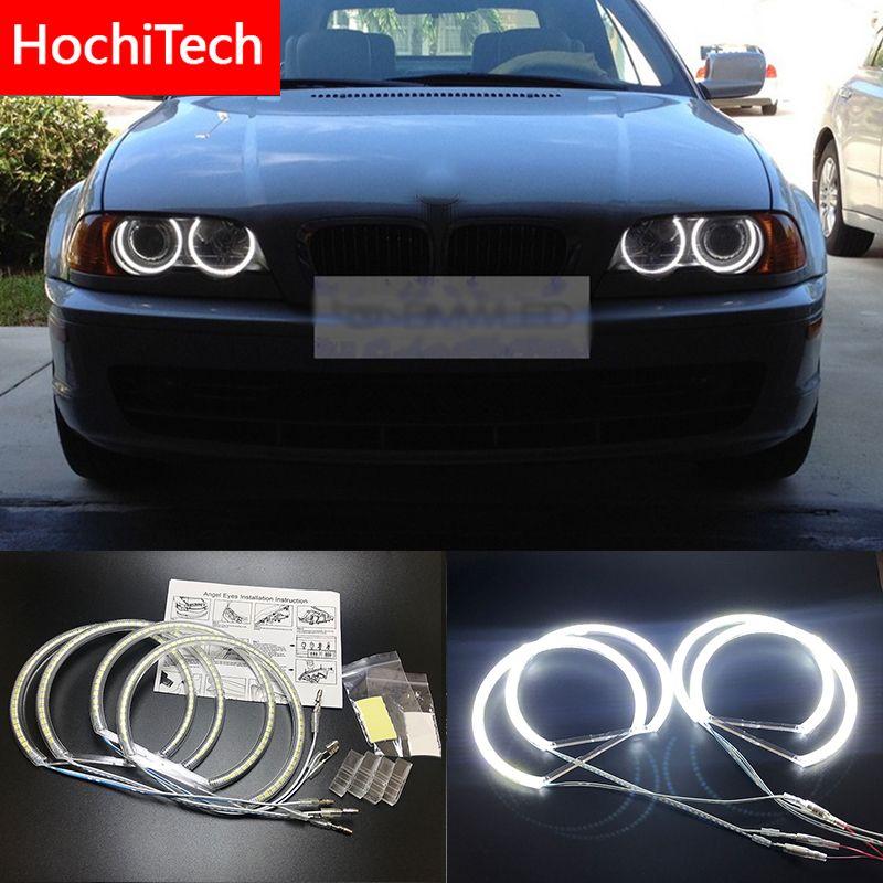 HochiTech pour BMW E36 E38 E39 E46 projecteur Ultra lumineux SMD blanc LED angel eyes 2600LM 12V halo anneau kit lumière de jour 131mmx4