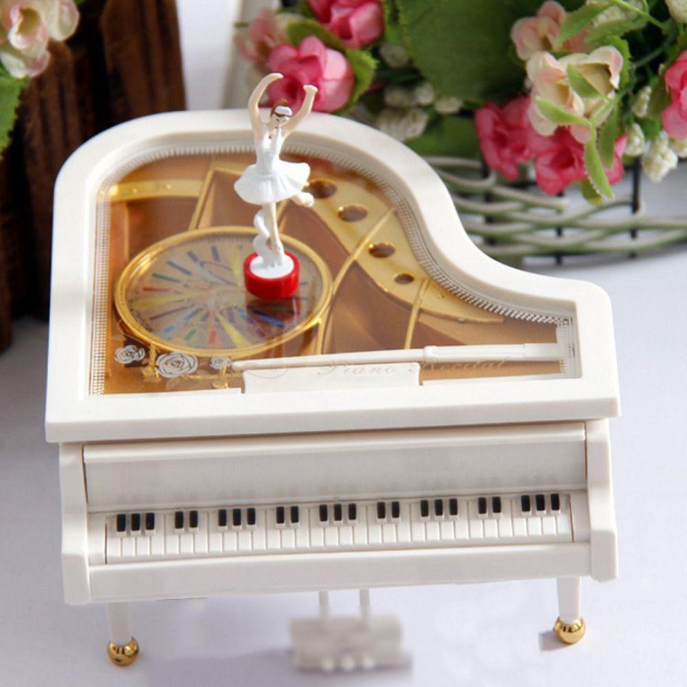 Conception chaude or blanc Piano boîte à musique classique jour cadeau Boutique avec danse fille chanson à Alice mécanique danse ballerine