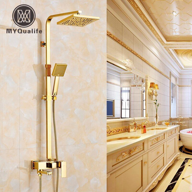 Europäischen Kupfer Brausegarnitur Wasserhahn Wandhalterung Warmen und Kalten Badewanne Duschen Spalte Goldene 8