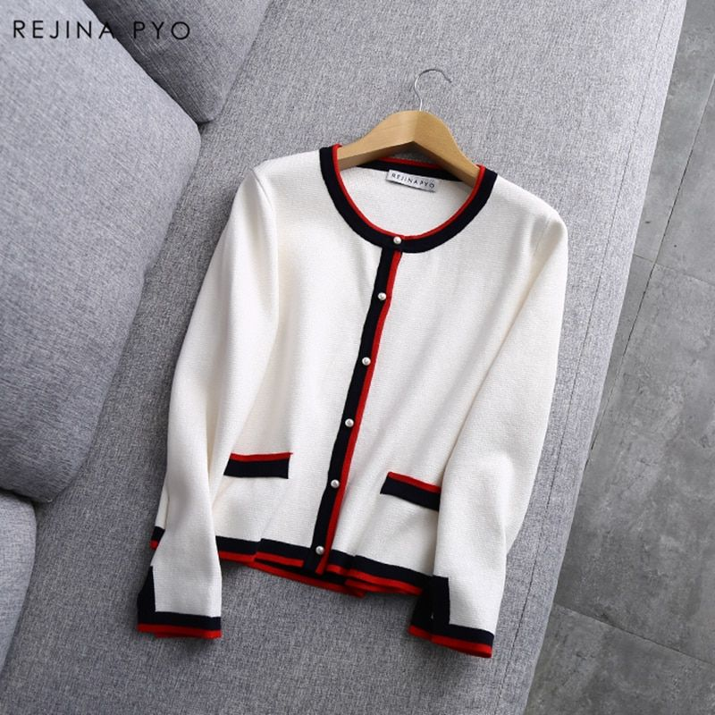 Rejina Pyo 2018 Spring New Arrival Women Chic Cardigans Pearl Decoration Buttons Knitted Open Stitch Color <font><b>Hit</b></font> Casual Outerwear