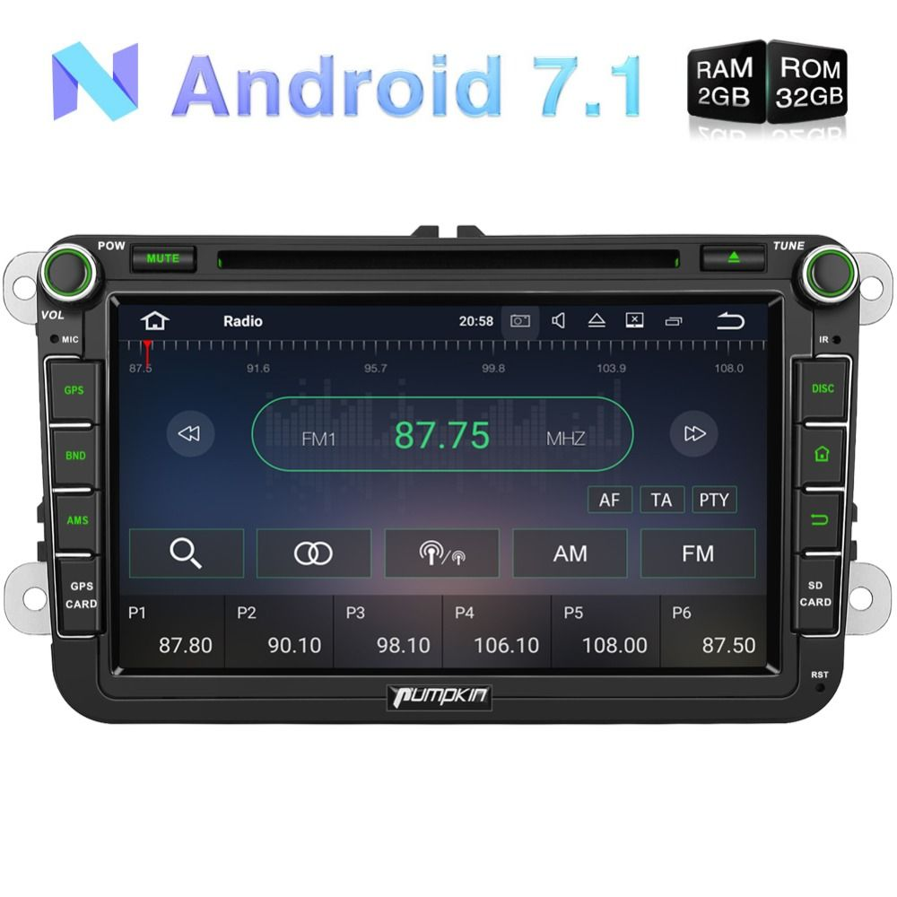 Pumpkin 2 Din Android 7.1 Car Multimedia DVD Player For VW/Skoda/Golf GPS Navigation Car Stereo Quad-core FM Rds Radio Headunit