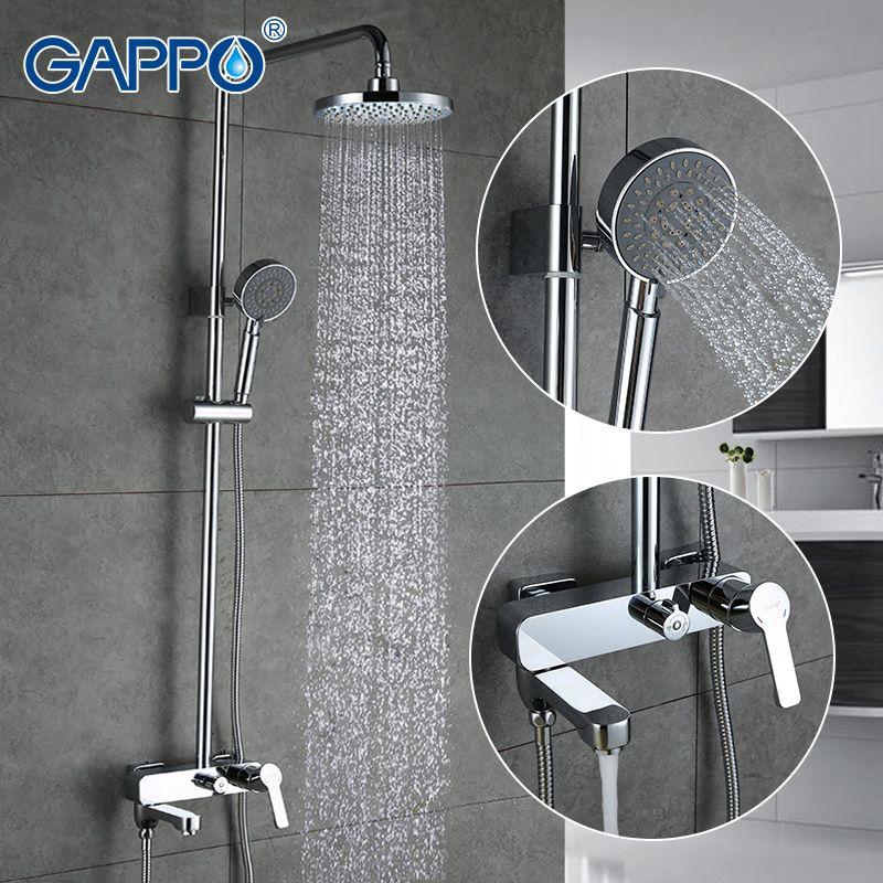 GAPPO bath shower faucets set bathtub mixer faucet bath rain shower tap bathroom shower head stainless shower bar GA2402