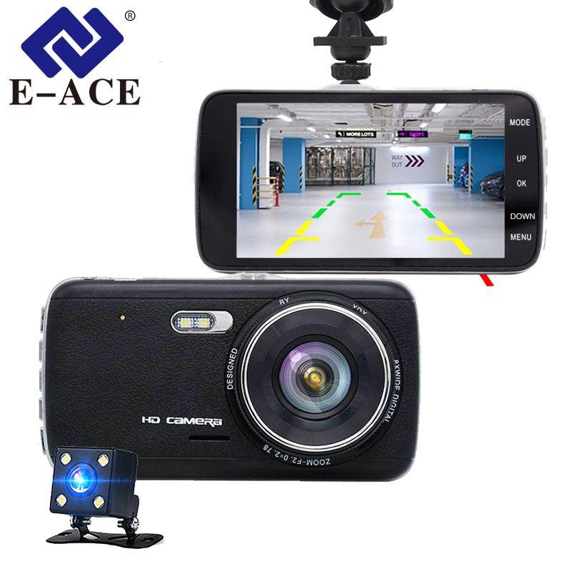 E-ACE Car Camera Dual Lens Car Dvrs Video Recorder FHD 1080P 170 Degree Night Vision ADAS LDWS Automobile Dash Cam Registratory