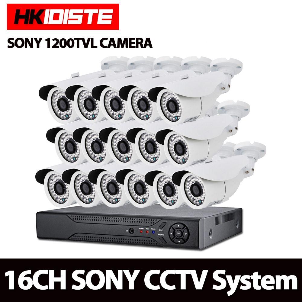 AHD 16CH 1080N DVR 1080P NVR 1200TVL 1.0MP HD Outdoor Security Camera System 16 Channel CCTV Surveillance DVR Kit SONY Camera