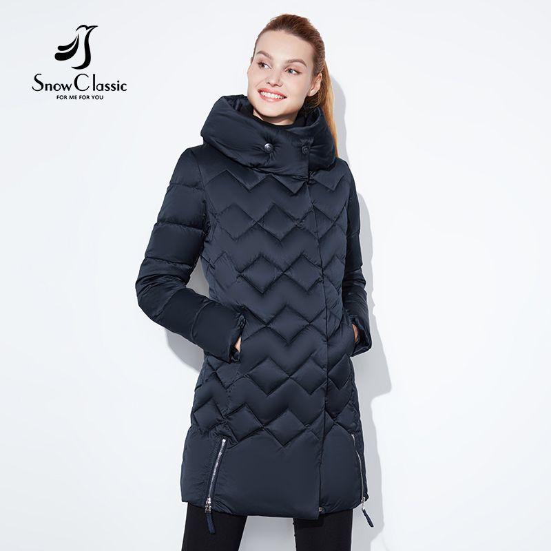 SnowClassic winter jacke frauen Dünne kurze parka Kapuze mäntel luxus oberbekleidung Argyle jacke weibliche über solide winter mäntel 2018