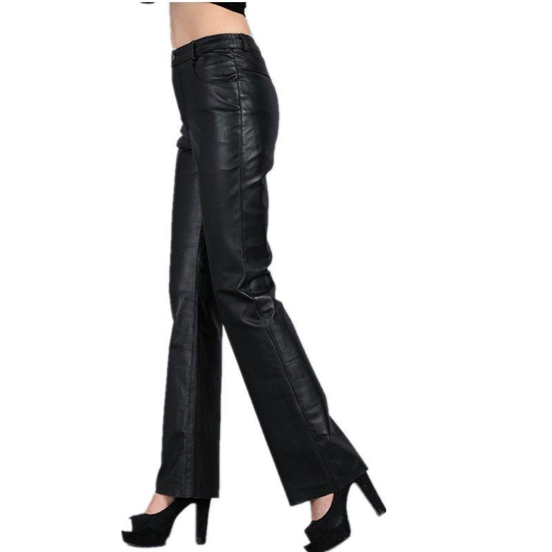 Ladies' Bell-bottom Sheepskin Women Genuine Leather Pants Zipper Fly Mid Waist Slim Hip Casual Women Pants Women Flare Trousers