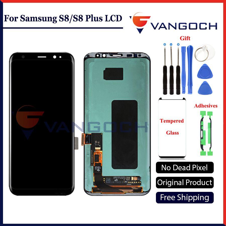 100% Original Super Amoled LCD Screen für Samsung Galaxy S8 Display G950 S8 Plus G955 Montage Ersatz mit klebstoffen & werkzeuge