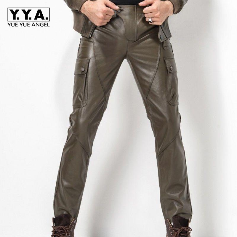 2018 New Pantalones De Hombre Calcas Plus Size 29-35 Fashion Leather Pants Motorcycle Pants Men Genuine Leather Straight Pants