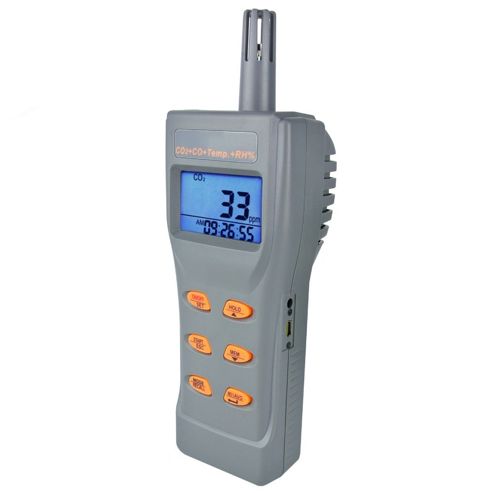 6 in 1 Combo Multi-function CO2 & CO,& Temperature, Humidity RH %, DP, WB, USB Data Logger with Software, Meter IAQ Tester