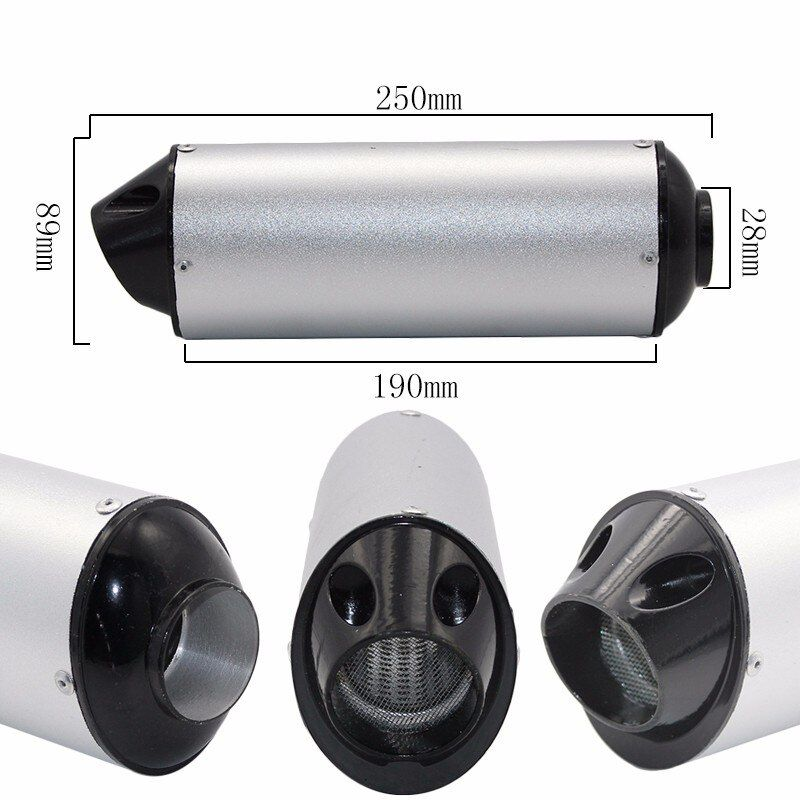 38mm 28mm Motorcycle Exhaust Muffler Tip Pipe for 125 150 160cc Dirt Pit Bike ATV black Grey Kayo BSE