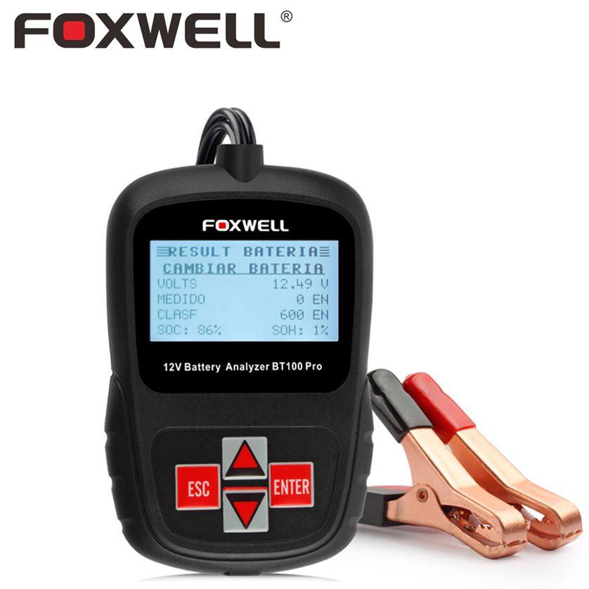 FOXWELL BT100 PRO 12V Car Battery Tester For Flooded AGM GEL Batteries Digital Auto 12-V Analyzer Automotive Test Leads Fix Tool