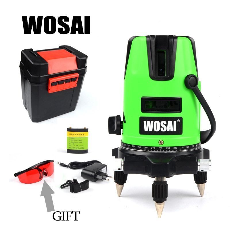 WOSAI Red Laser Level 5 Lines 6 Points 360 Degrees Rotary Outdoor 635nm Corss Line Lazer Level Points Level Tilt Function
