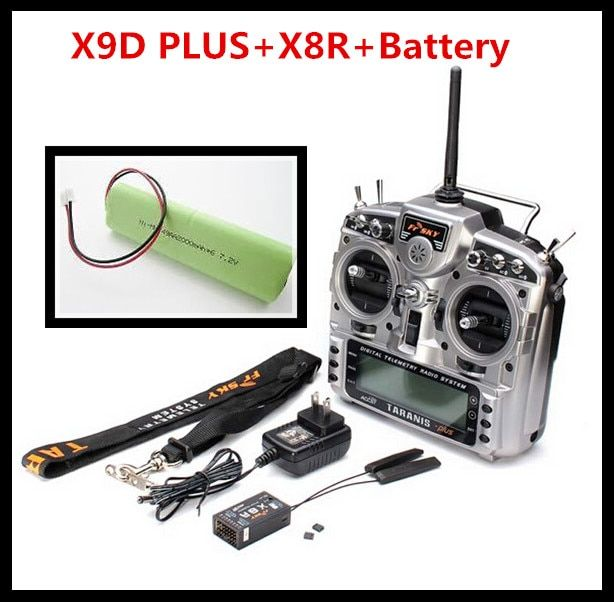 High Quality Original FrSky X9D Plus Transmitter 2.4G 16CH ACCST Taranis with x8r reciever battery Carton Package For RC Model