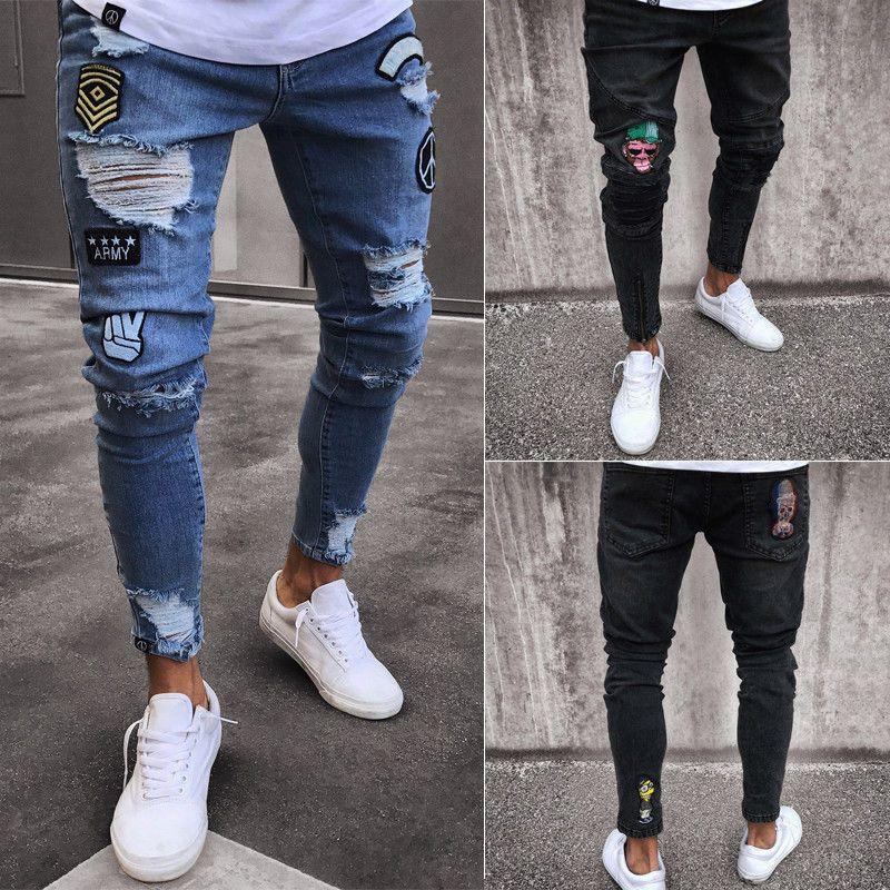 2018 Fashion Mens Jeans Fortnite Skinny Rip Slim Stretch Denim Distress Frayed Biker Jeans Boys Embroidered Pencil Trousers