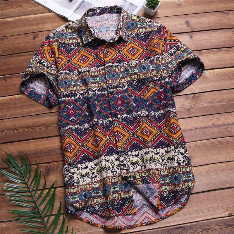 2019 Summer Mens Beach Hawaiian Shirts Tropical Summer Short Sleeve Shirts