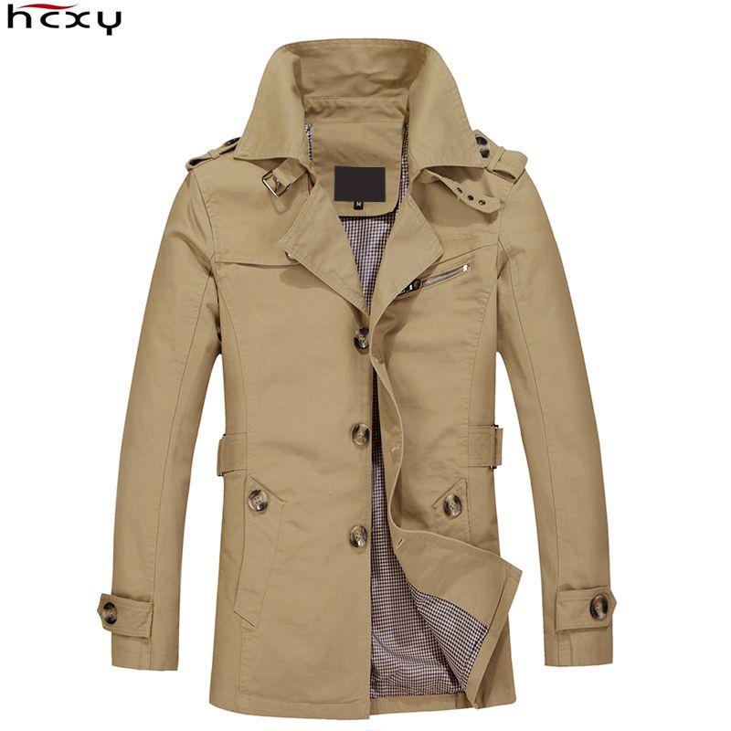 HCXY Brand 2016 Male Overcoat Long Jacket Coat Men Men's Trench Coat Trenchcoat Masculina Windbreaker Outwear Cotton Fabric