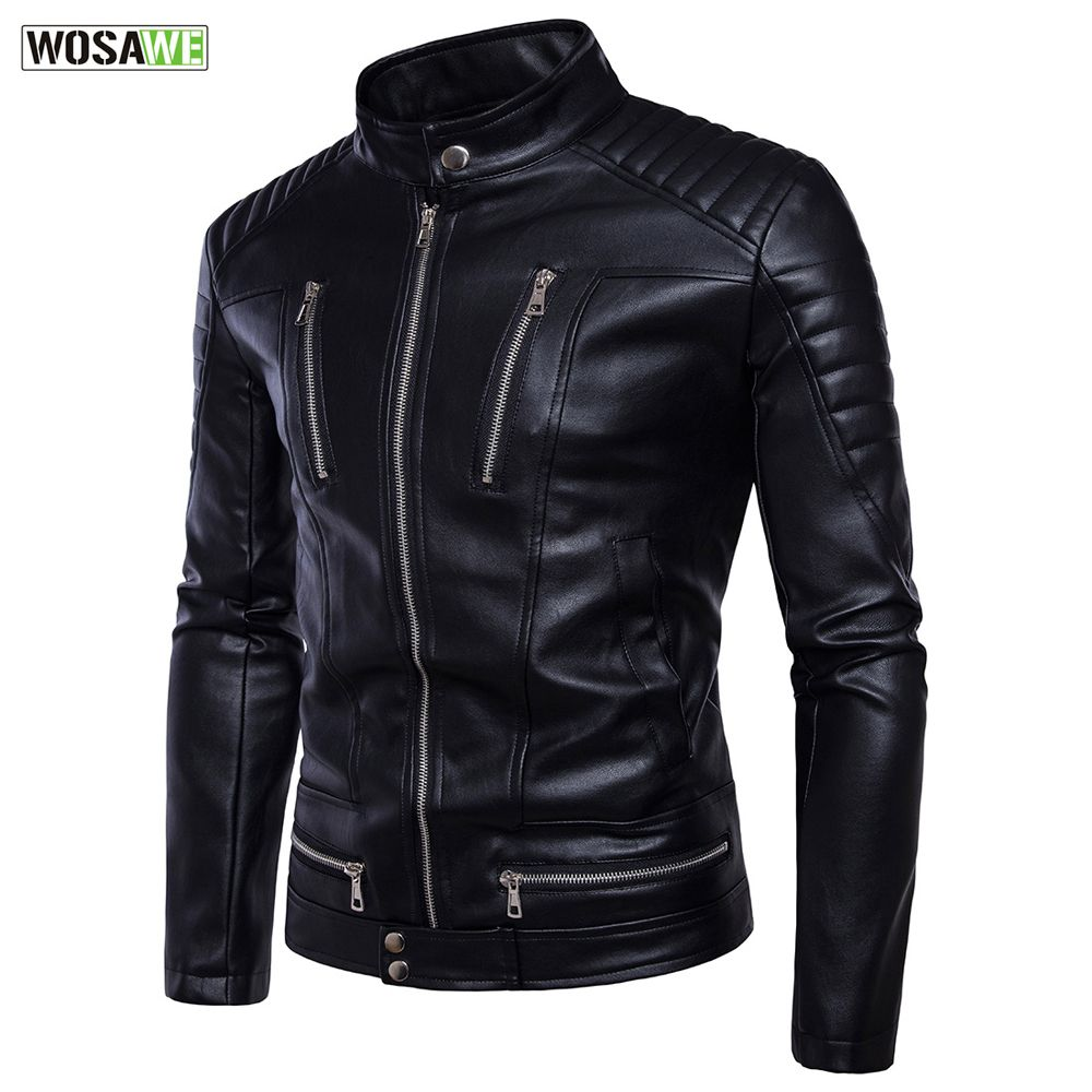 WOSAWE Men Leather Jacket Winter Racing Motorcycle Zipper Jackets Business Casual Coats Motorcross Windproof Coat