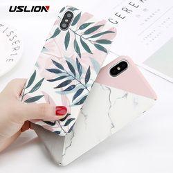 USLION Camélia Fleur Feuille Marbre Téléphone Cas Pour iPhone X Cerise Rose Cas Floral Pour iPhone 7 8 6 6 S Plus Dur PC Couverture Coque