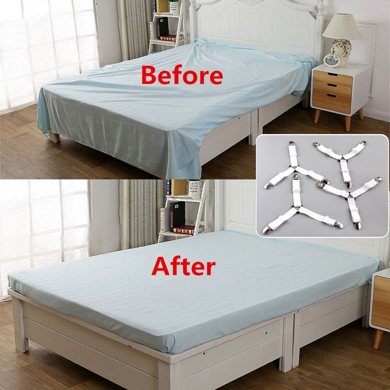 4Pcs/Set Bed Sheet Clip Bed sheet Belt Fastener Mattress Elastic Non-slip Clip Blanket Gripper White and Black