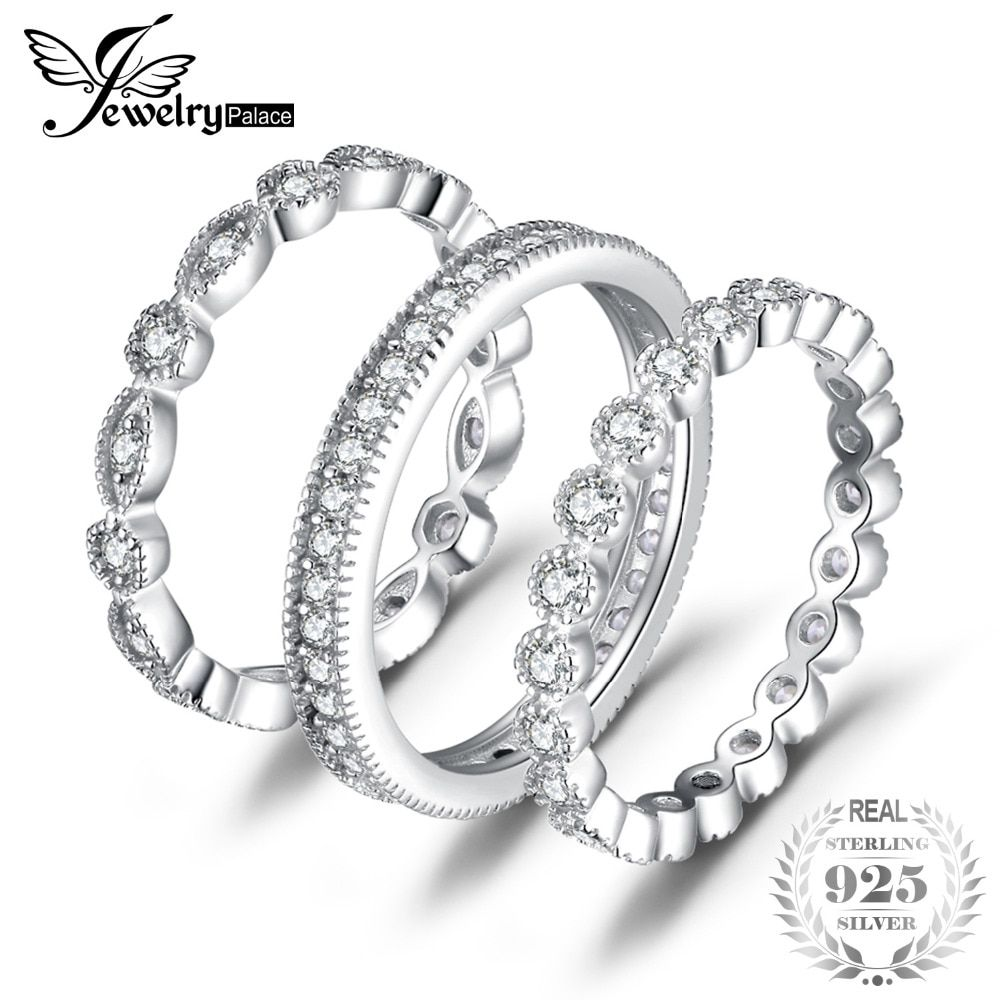 JewelryPalace Fashion 2.15ct Cubic Zirconia 3 Eternity <font><b>Band</b></font> Rings For Women Pure 925 Sterling Silver Ring Real Silver Jewelry