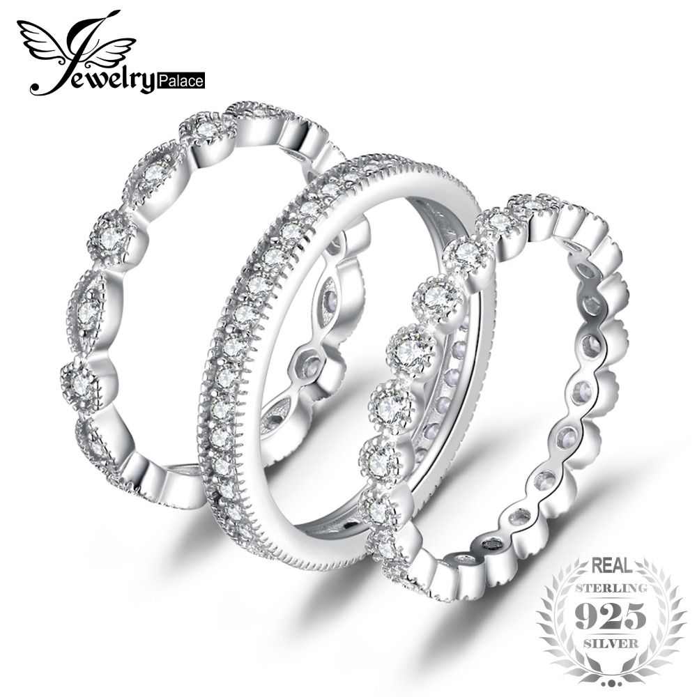 JewelryPalace Fashion 2.15ct Cubic <font><b>Zirconia</b></font> 3 Eternity Band Rings For Women Pure 925 Sterling Silver Ring Fashion Newes Jewelry