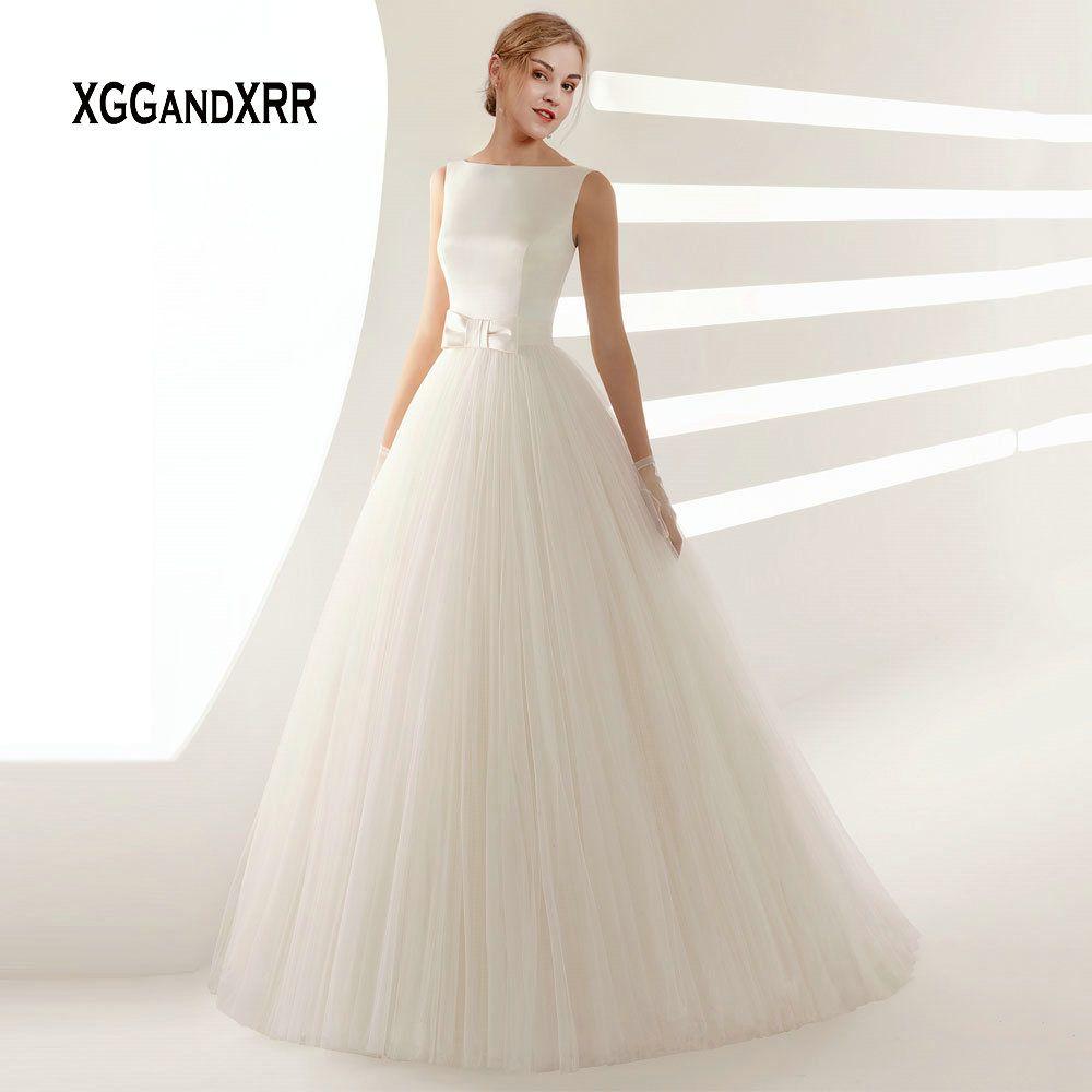 Elegante EINE Linie Tüll Hochzeit Kleid mit Bogen Schärpe Romantische V Backless Lange Brautkleid Einfache Satin Tüll Hochzeit Braut kleid