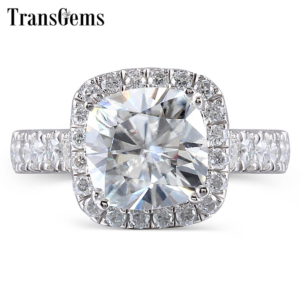 TransGems Center 2ct 7.5mm GH Color Cushion Cut Halo Engagement for Women Platinum Plated Silver Sterling Silver 925 Ring Gift