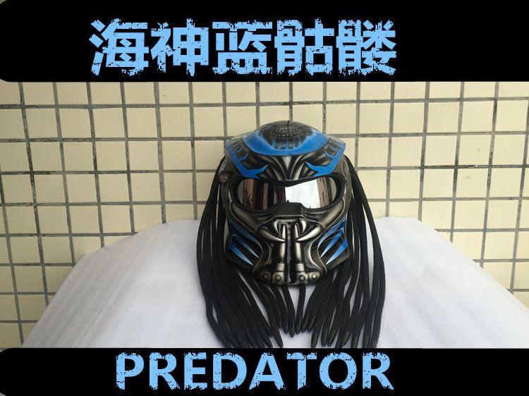 MASEI Blau Predators maske fiberglas neca motorrad helm Full face iron man moto DOT M L XL