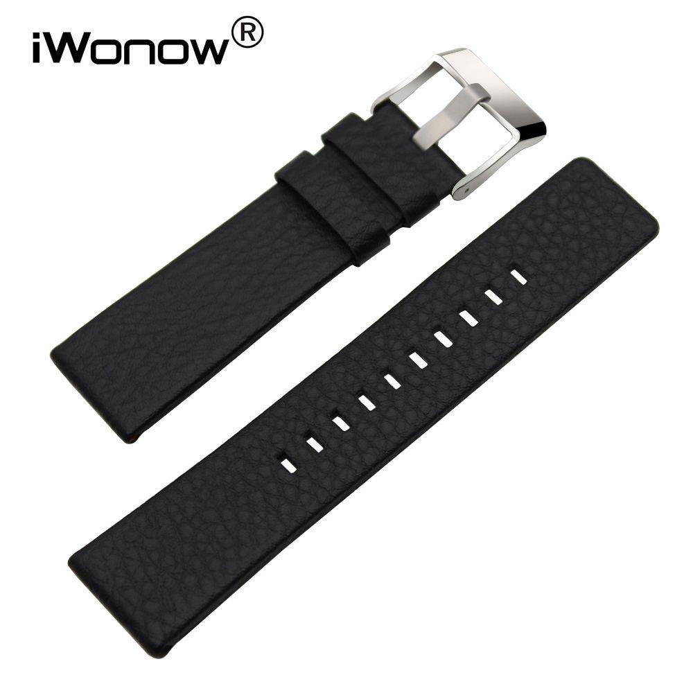 Bracelet en cuir véritable 20/24/26/27/28mm + outil pour DZ7313/7322/7257 Bracelet de montre Bracelet en acier boucle Bracelet noir marron