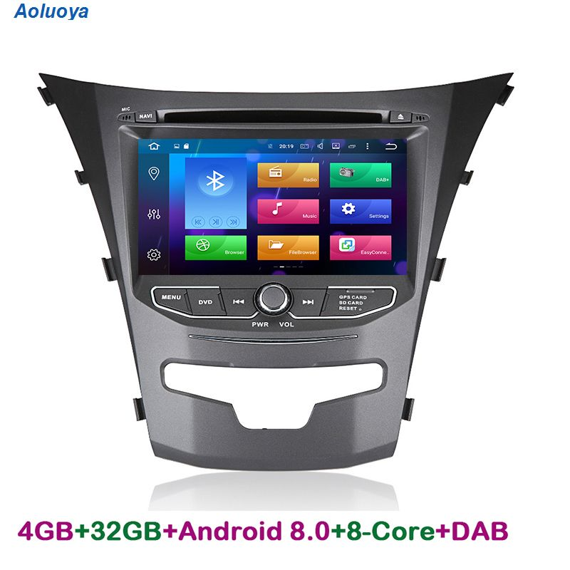 Aoluoya RAM 4GB Octa Core 2 Din Android 8.0 CAR Radio DVD GPS Navigation For Ssangyong Actyon Korando 2014 2015 Audio multimedia