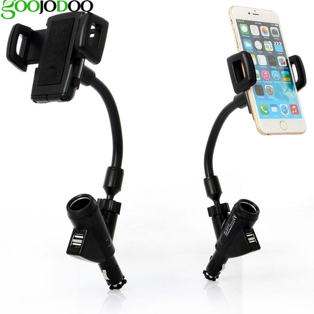 Support de Téléphone de voiture 2 USB Port Chargeur De Voiture avec Allume-cigare Pour iPhone X 8 7 7 plus 6 6 plus Samsung S8 oneplus 5 Voiture-Chargeur