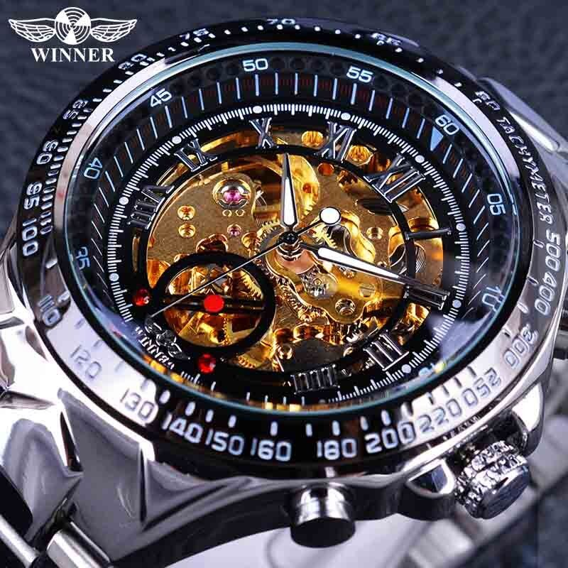 Winner Classic Series <font><b>Golden</b></font> Movement Inside Silver Stainless Steel Mens Skeleton Watch Top Brand Luxury Fashion Automatic Watch