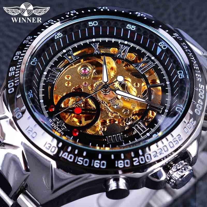 Winner classique série mouvement doré à l'intérieur de l'argent en acier inoxydable hommes squelette montre Top marque de luxe mode automatique montre