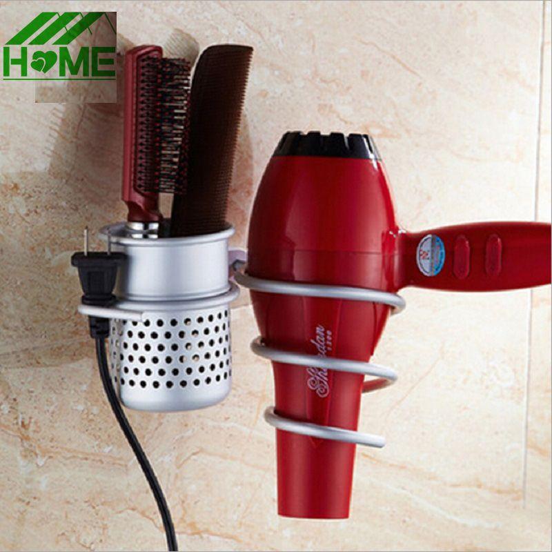 Support de sèche-cheveux mural en Aluminium support et organisateur Salon salle de bains monté en spirale sèche-cheveux peigne Rack de stockage aspiration