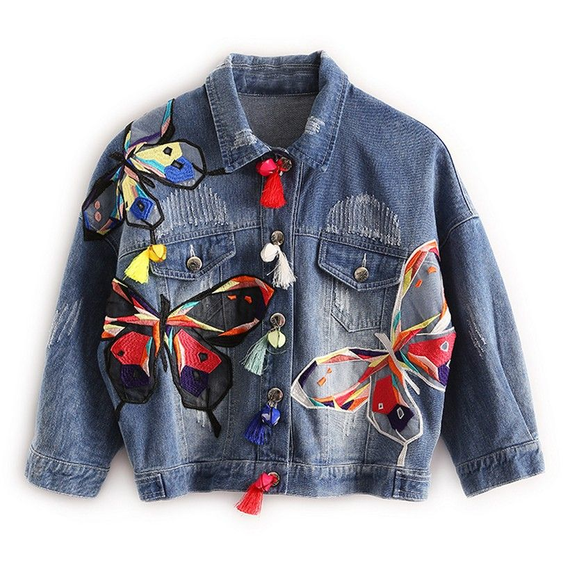 Colorful Butterfly Embroidery Ladies Jean Jackets Patch Designs Womens Denim Coats with Tassel Short Chaquetas Mujer Slim Jacket