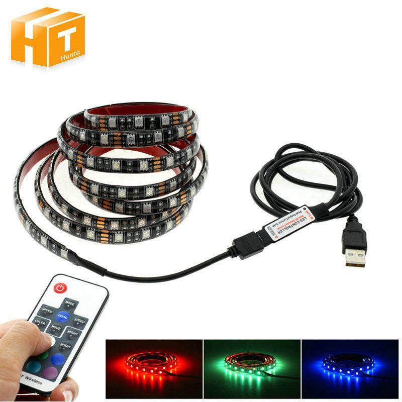 USB LED Strip 5050 RGB 60LEDs/m with 17Key RF Controller 50cm / 1m / 2m Set.