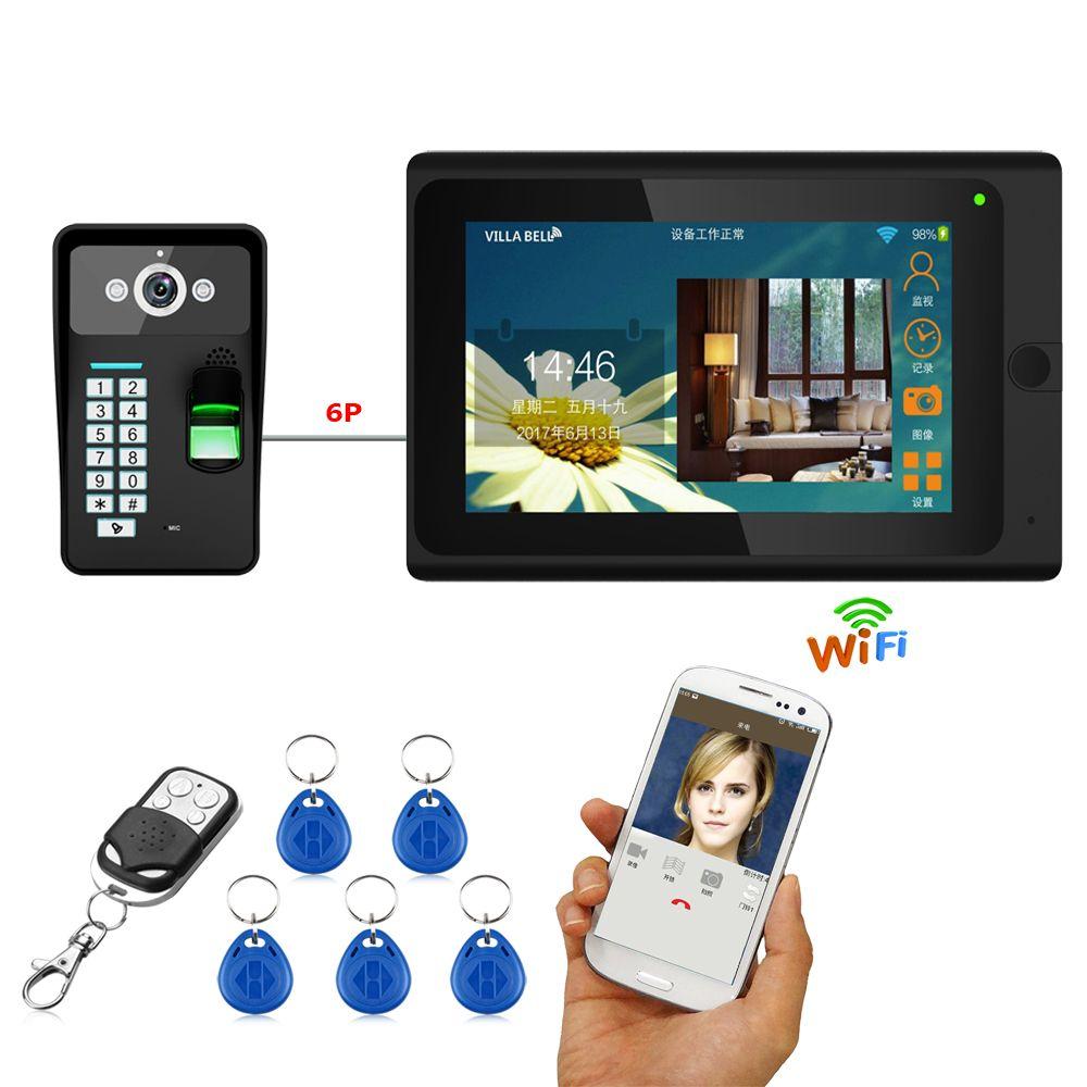 7 ''verdrahtete Wifi Fingerprint RFID Passwort Video Tür Telefon Türklingel Intercom Entry System mit 1000TVL Outdoor Kamera + Fernbedienung