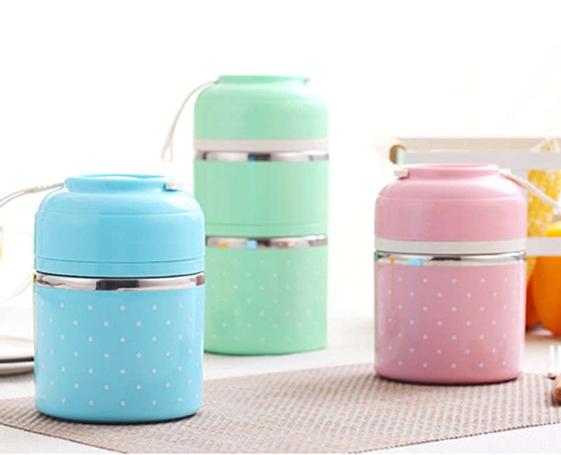 3 Colors Portable Stainless Steel Thermal Lunch Box Leak-Proof Bento Box Kids Picnic School Food Container Box