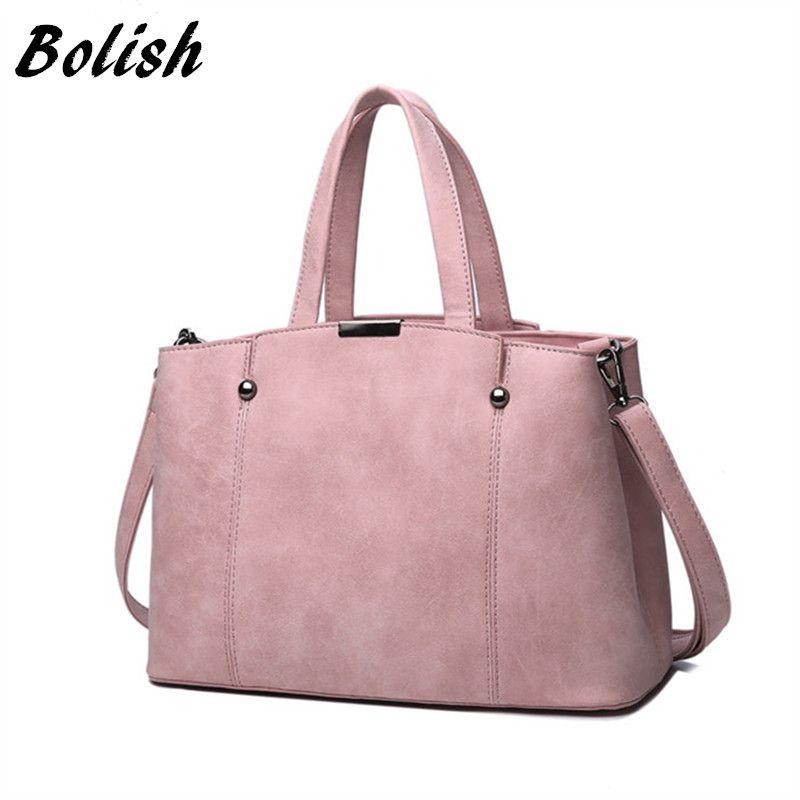 Bolish Hot Sale Nubuck Leather Women Top-Handle Bags Candy Color Female Shoulder Bag Rivet Women Bags