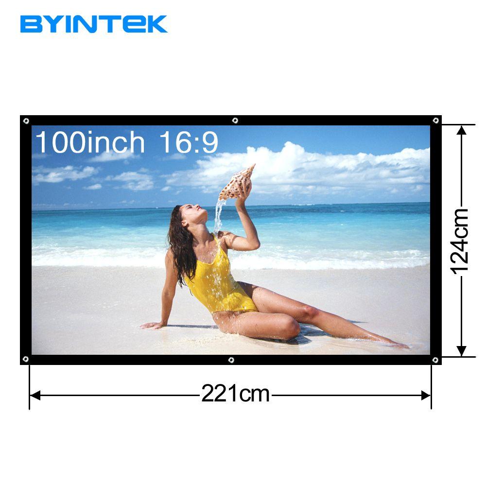 Byintek 100 дюймов 16:9 Портативный проектор Экран белая ткань материал открытый тип светодиодный проектор для домашнего кинотеатра