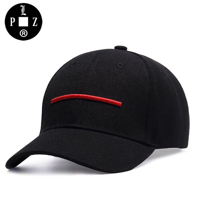 PLZ Horizon Stickerei Baseballmütze Unisex Sommermode Strand Sonne hut Rote Linie Schwarz Baumwolle Kappe Für Männer Frauen 56-60 cm 309