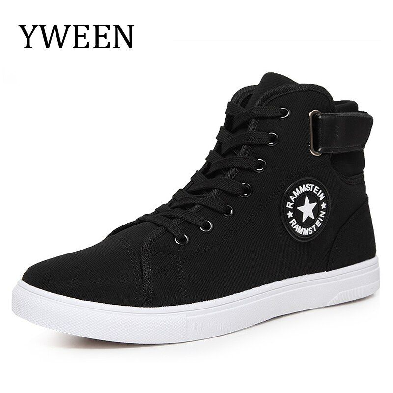 YWEEN Hommes Toile Chaussures Printemps Automne Top Fashion Sneakers Dentelle-up Haute Style Solide Couleurs Homme Chaussures