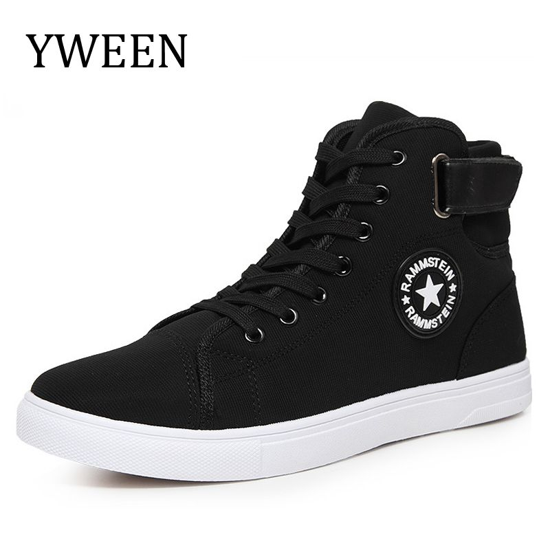 YWEEN Hommes Toile Chaussures Printemps Automne Top Fashion Sneakers Dentelle-up Haute Style Solide Couleurs Plat Homme Casual Chaussures