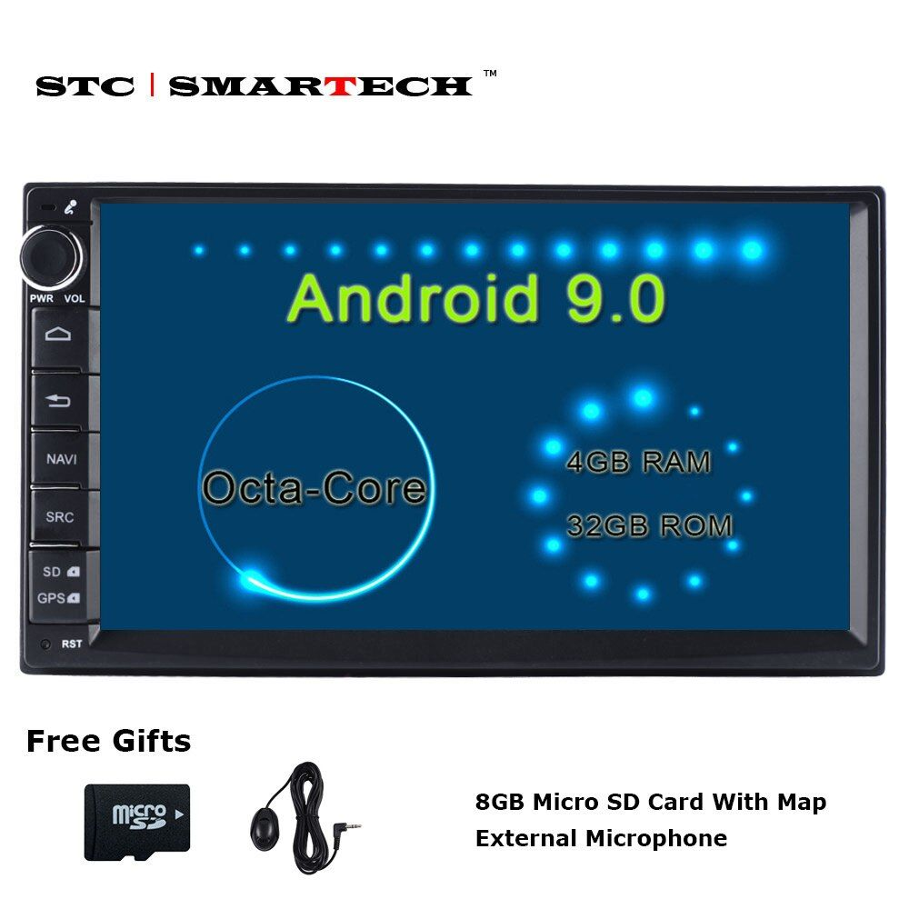SMARTECH 2 Din Octa Core Android 9 Autoradio GPS Navigation système 4 GB RAM 32 GB ROM Support TPMS 3G WIFI DAB OBD DVR