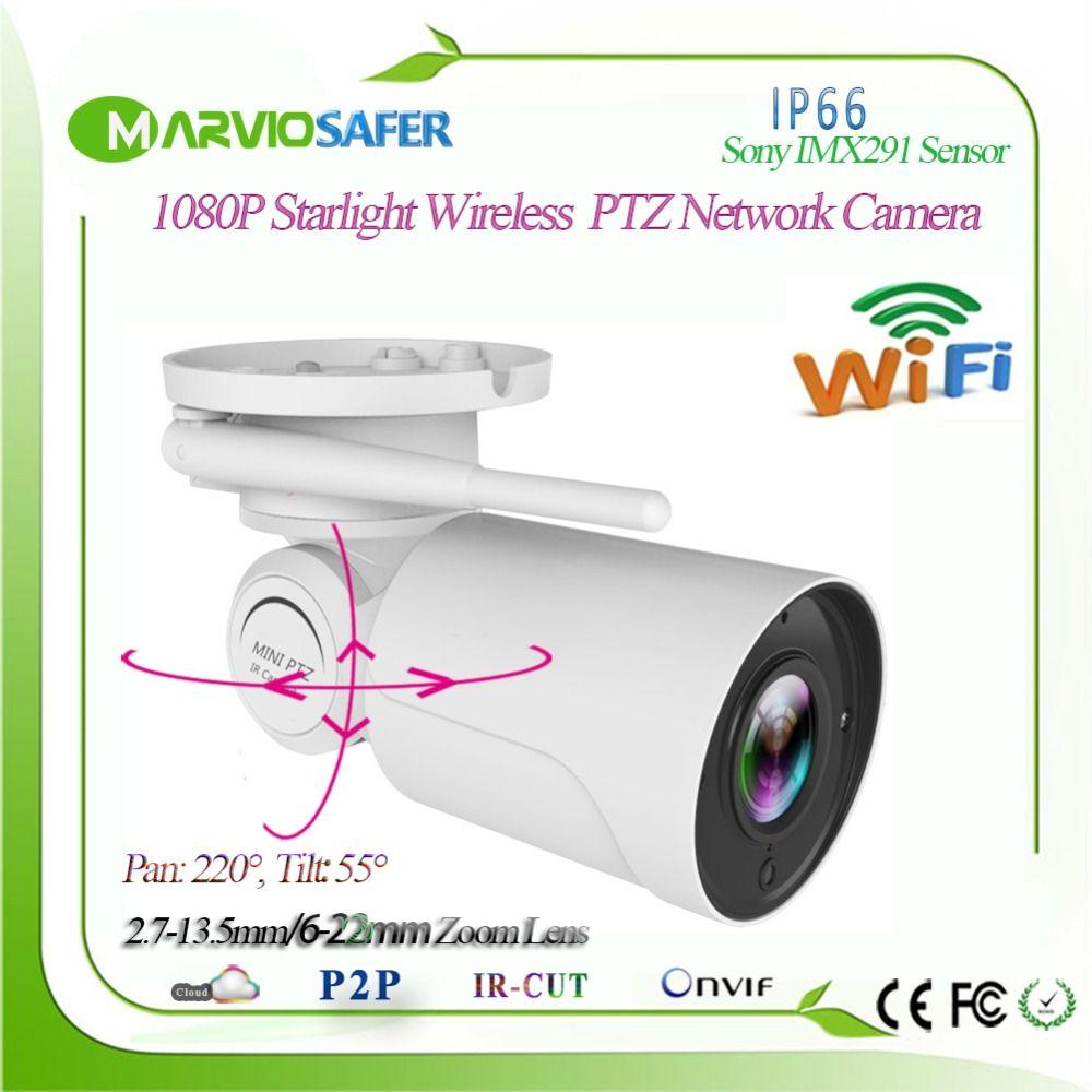 Sony IMX291 1080P Starlight IP PTZ Network Camera CCTV Camara Supper Low Illumination 2.7-13.5mm / 6-22mm Motorized Lens TF Card